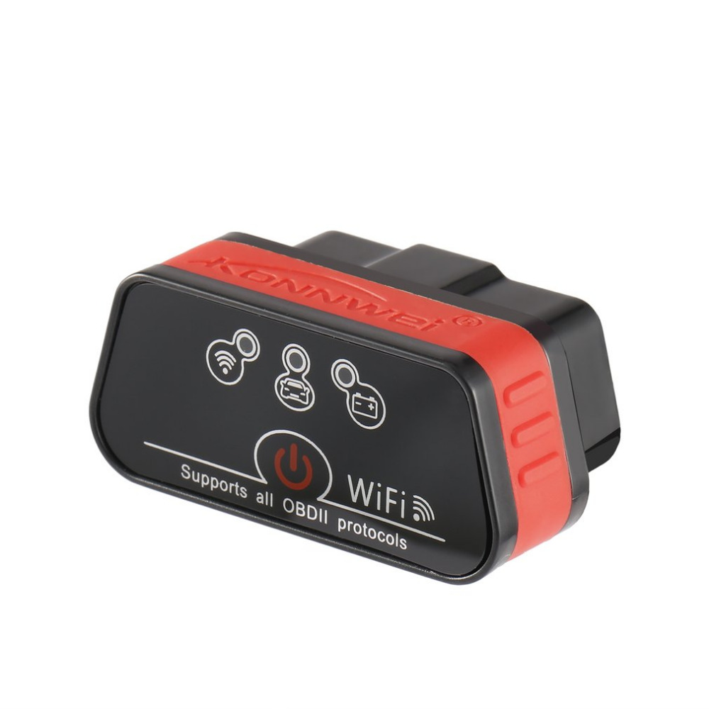 2018 New Konnwei KW901 OBDII WIFI OBD2 Car Diagnostic Scanner Detector Tool Code Reader for Android Device red black code reader