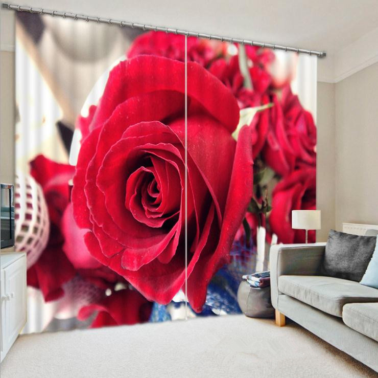 Romantic 3D Curtains Bedding Room Living Room or Hotel Drapes Cortians Sunshade Window Curtain Wedding Curtains Gift for Lovers