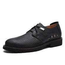 Männer Schuhe 2017 Mode Sommer herren Business Casual Schuhe Aus Echtem Leder Oxfords Sandalen Atmungsaktiv Hohle Mens Flache Schuhe