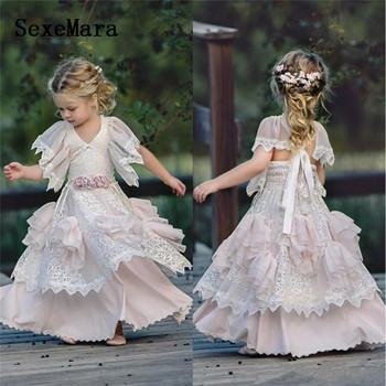 New Kids A Line Flower Girl Dresses Tiered White Lace Pink Ling Girls Pageant Gowns Vintage Kids Birthday Dress Custom Made Size