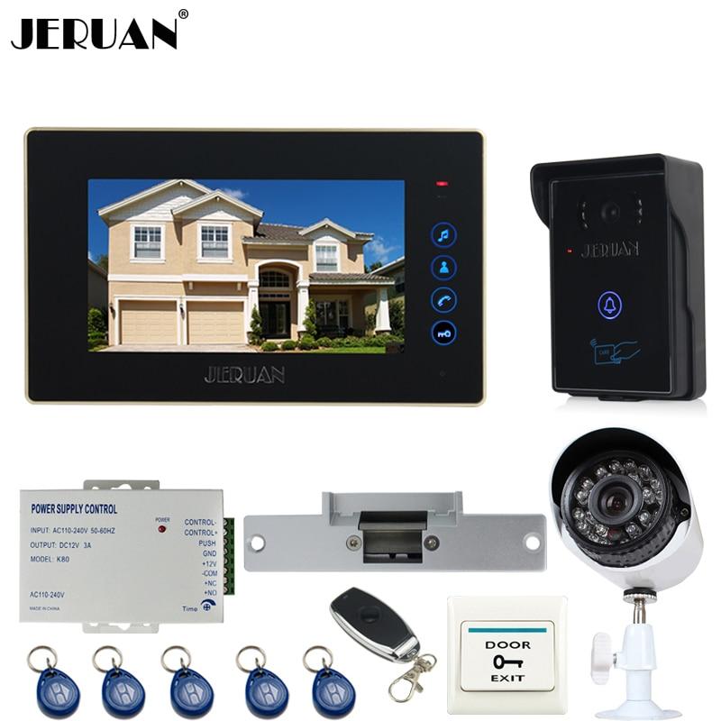 JERUAN 7 дюймов видео телефон двери домофон Системы комплект RFID Доступа ИК Камера + металл 700TVL аналоговый Камера + пульт дистанционного управле...