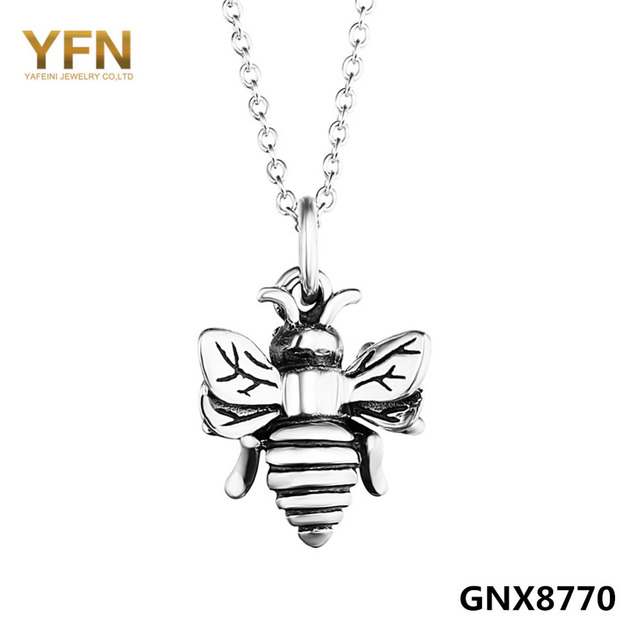 YFN Оригинальные Стерлингового Серебра 925 Bumble Bee Ожерелье Шарма Старинное Серебро Vintange Кулон Ожерелье Для Женщин 18 дюймов GNX8770