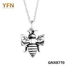 YFN Genuino 925 Plata Esterlina Collar Colgante Abeja Abejorro Antiguo Clásico Collar de Las Mujeres 18 pulgadas GNX8770