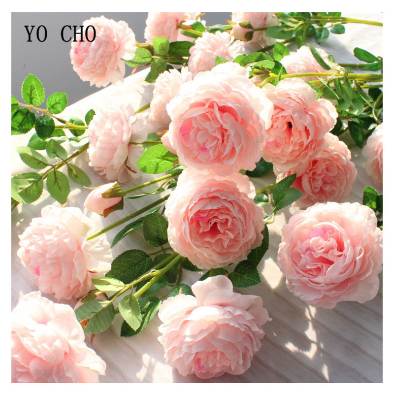 YO CHO 3 Heads Artificial Flowers Yellow Peonies Silk Flowers Peony Artificial Flower White Wedding Decor For Home Fake Peonies