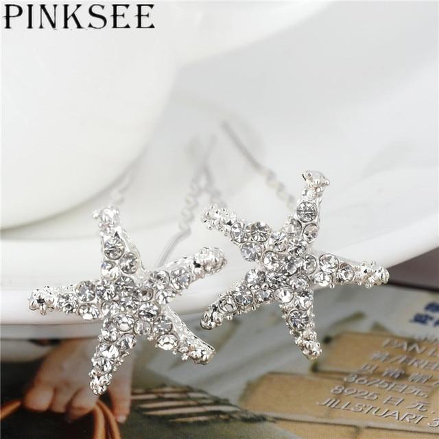 Crystal Star Hair Clips Bridal Wedding Accessories 2
