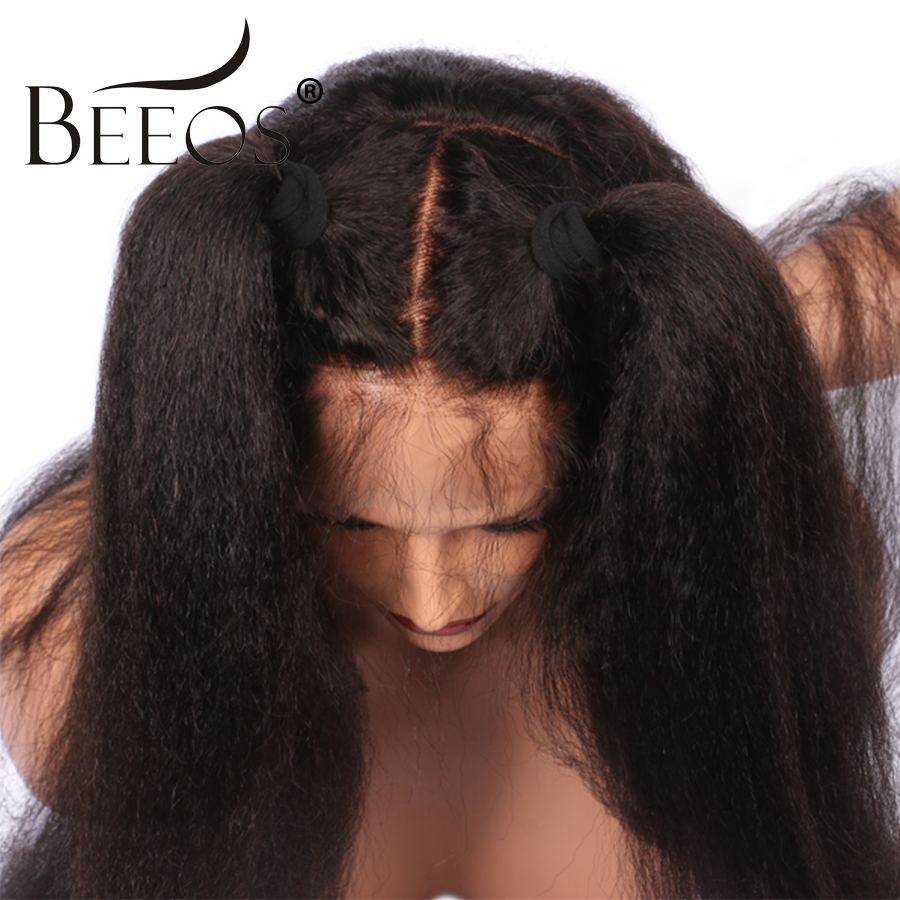 BEEOS Pre Plucked Full Lace Human Hair Wigs Bleached Knots Non Remy Brazilian Kinky Straight Lace Wigs With Baby Hair Around
