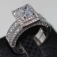 Size Victoria Wieck Vintage Jewelry Valuable 138pcs Diamonique Cz Simulated Diamond 14KT White Gold Filled Wedding