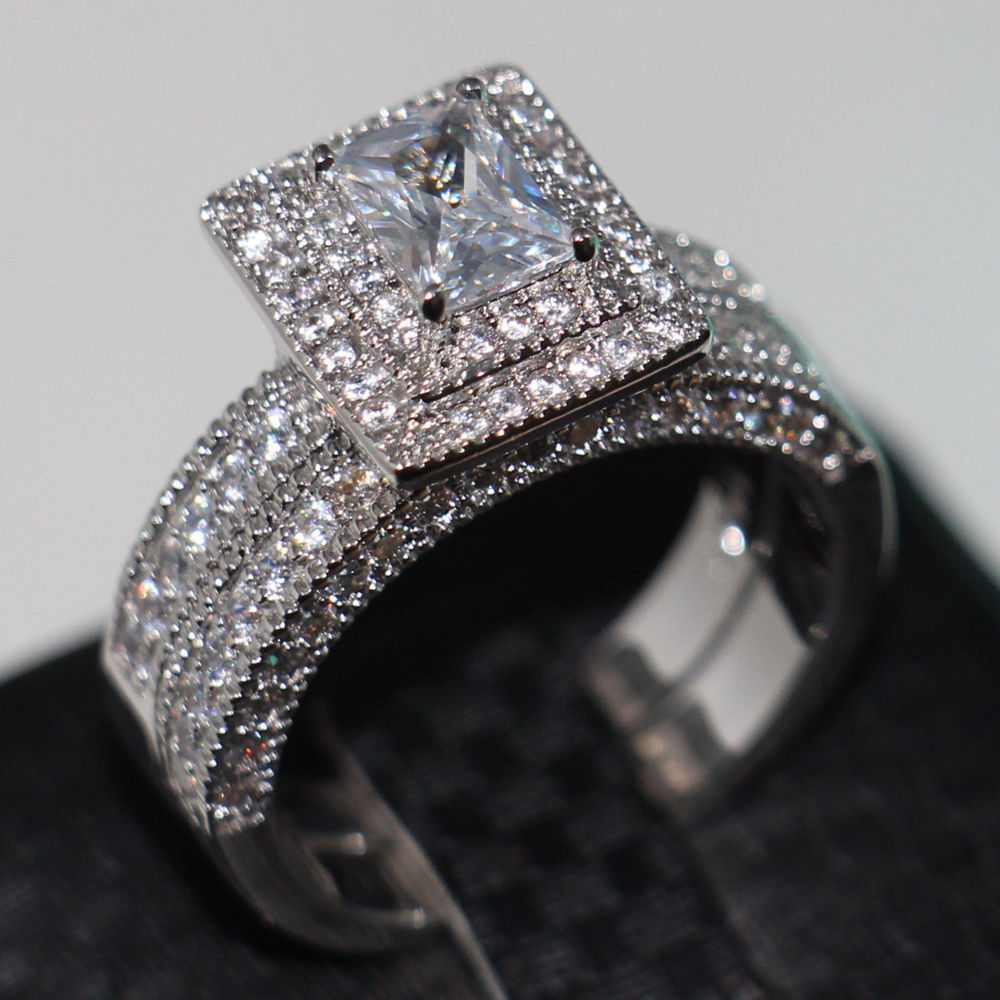 Size Victoria Wieck Vintage Jewelry Valuable 138pcs Diamonique Cz Simulated Stones 14kt White Gold Filled Wedding Ring Set In Rings From