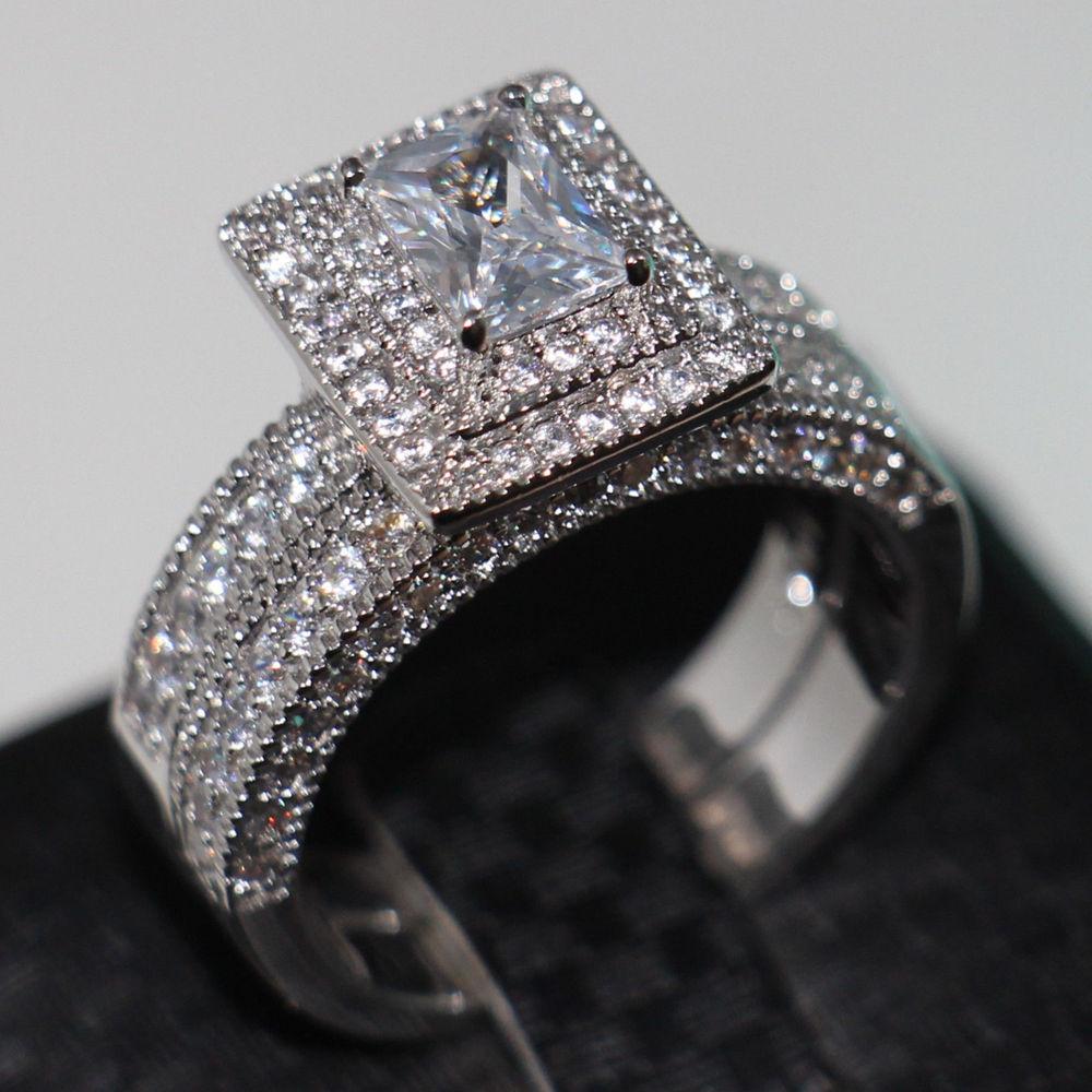 Prix pour Taille Victoria Wieck Bijoux Vintage Précieux 138 pcs Diamonique Cz Simulé pierres 14KT Blanc Or Rempli Anneau De Mariage Ensemble