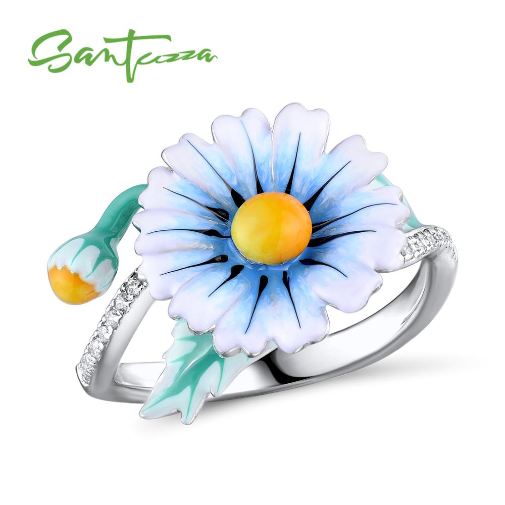 SANTUZZA Silver Ring For Women Authentic 925 Sterling Silver Dazzling Daisy Flower Ring Fashion Jewelry Handmade