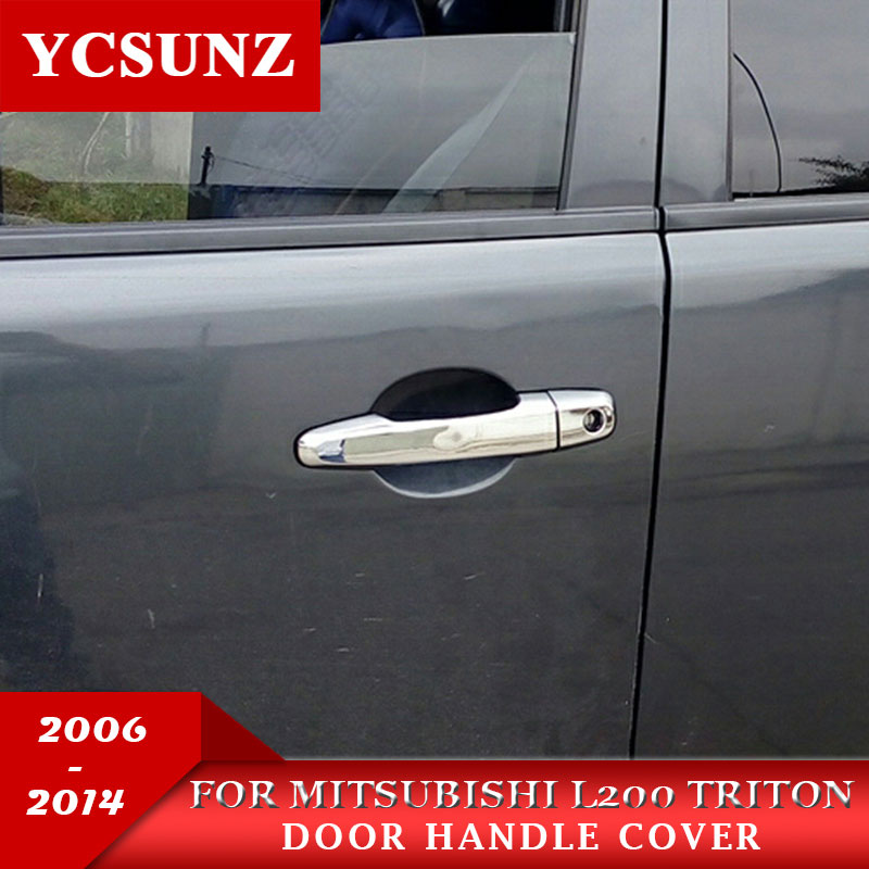 Untuk Mitsubishi L200 Triton Handle Decoration Products ABS Chrome Handle Cover Holder Untuk Mitsubishi L200 Triton 2006-2014 Ycsunz