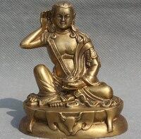 Ev ve Bahçe'ten Statü ve Heykelleri'de Tibet Tibet Budizm Pirinç Koltuk Deer Head Milarepa Buda Master Heykeli