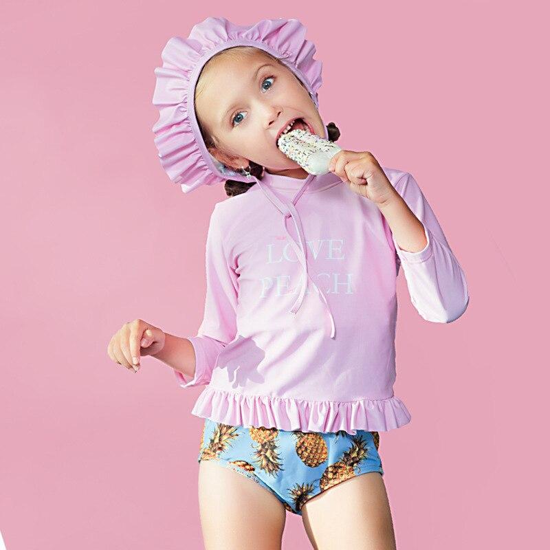 Children's Swimsuit Kids Girls 2019 Swimwear Baby Bikini Girl Swimming Suit Bathing Suits Child Long Sleeve Caps For Animal