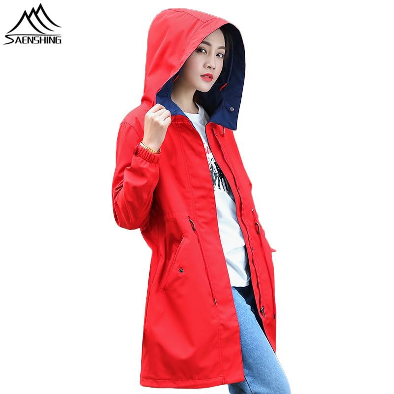 SAENSHING Waterproof Softshell Jacket Women Long Windbreaker Camping Hiking Fishing Outdoor Rain Jacket Softshell Coat Female