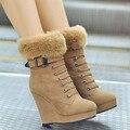 Meotina sapatos mulheres botas de plataforma botas de cunha tornozelo senhoras botas de inverno zip rebites primavera sapatos de salto alto preto marrom 34-39