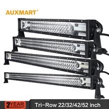Auxmart 22/32/42/52 «Tri-Rangée LED Light Bar offroad combo faisceau 12 24 v bar lumière camping-car camion remorque 4X4 4WD ATV SUV UTV UTV RZV