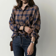 Plaid Shirt Women Fall 2018 Pockets Button Casual Loose Blouses Long Sleeve Cotton Woman Clothes Ladies Tops Blusa Mujer