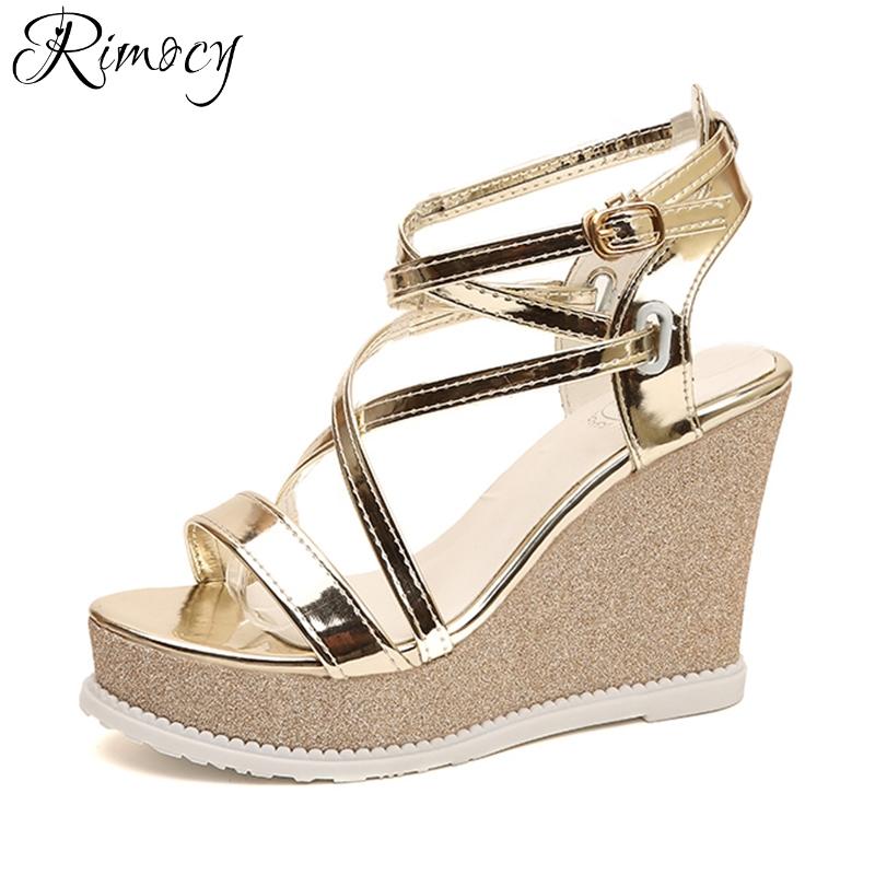 Rimocy sexy gold silver corss straps patent leather summer shoes for women high heels wedges sandals woman platform sandalias 32 43 big size summer woman platform sandals fashion women soft leather casual silver gold gladiator wedges women shoes h19