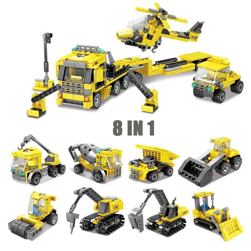 905 pièces bricolage 8in1 ville Construction voiture blocs de Construction pelle mélangeur chariot élévateur rouleau Mode jouets pour enfants cadeaux