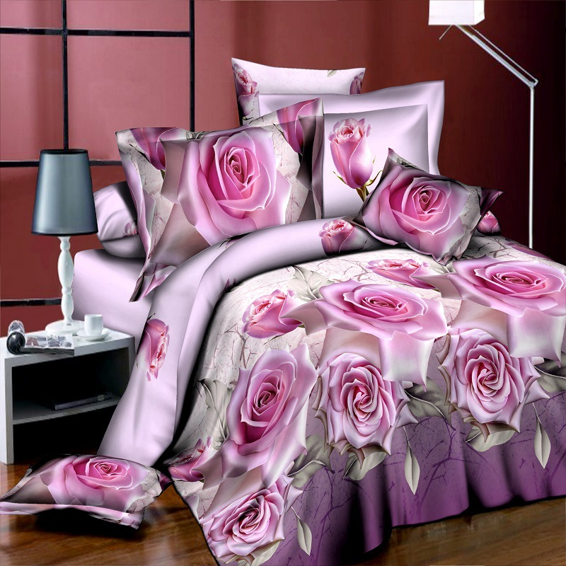 15New Style White Red Flower 3D Bedding Set of Duvet Cover Bed Sheet Pillowcase Bed Clothes Comforters Cover Queen No Quilt