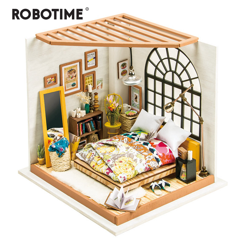 Robotime DIY Doll House Alice s Dreamy Bedroom Children Adult Miniature Wooden Dollhouse Model Building Kits