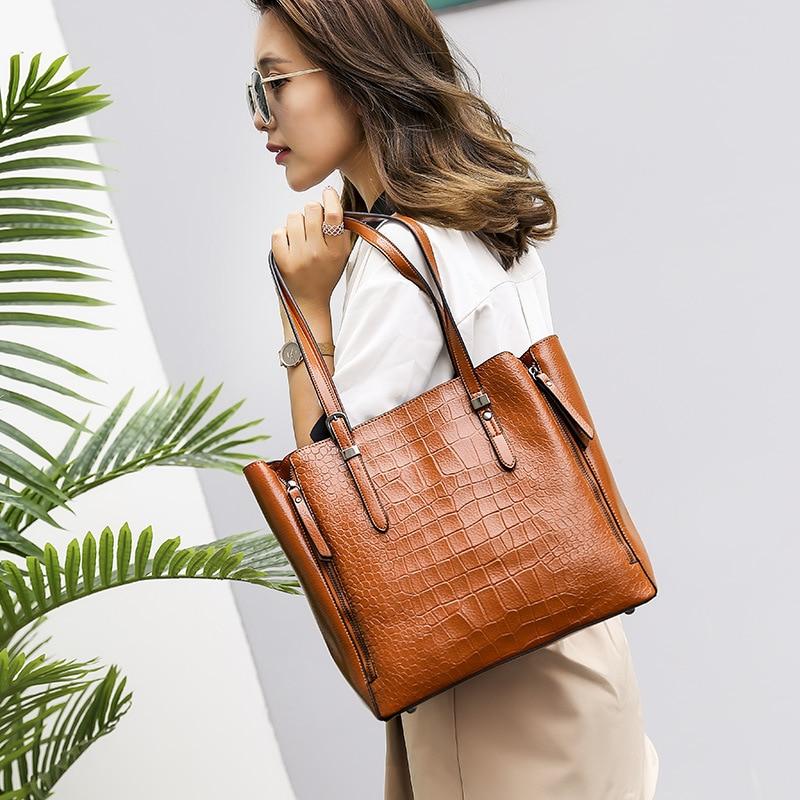 Handbags Crocodile-Bag Genuine-Leather Ladies Messenger Shoulder Female Women's Fashion
