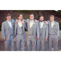 Tailor made Suits Grey Wedding Suits for Men Slim Fit Groomsmen Simple Suit Blazer Men 3 Piece Groom Wear(Jacket+Pants+Vest)G577