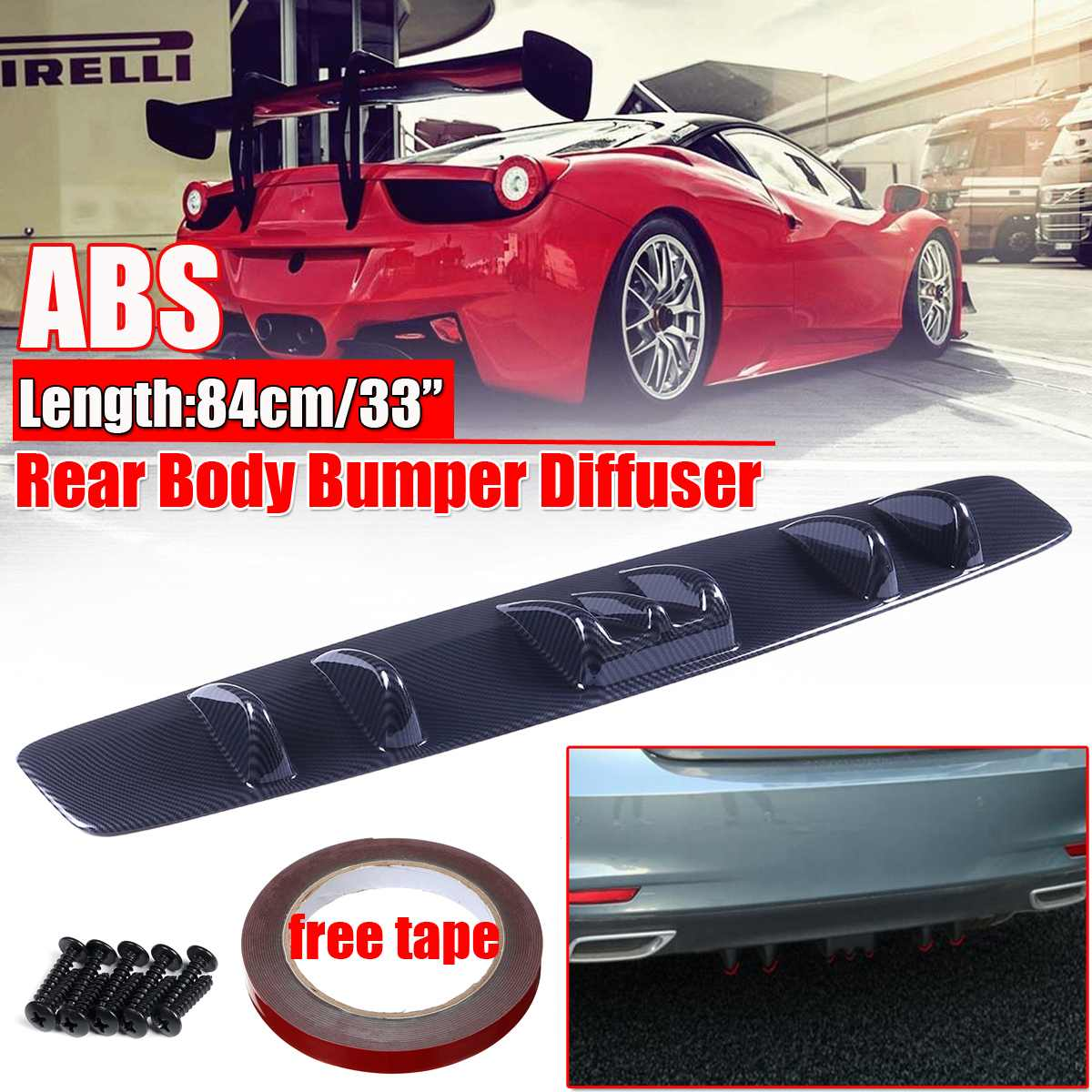 Car Rear Bumper Lip Diffuser 6 Fin Shark Fin Style For BMW Mercedes VW Audi Ford