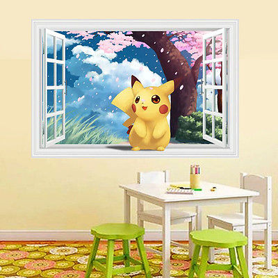 Awesome Lovely Pikachu Pokemon 3D Window View Wall Art Sticker PVC Decal Kids Room  Mural Child Gift Part 18