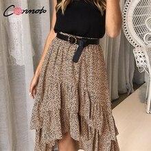 Conmoto High Waist Flounce Beach Women Skirts Polka Dot Feminino Summer Skirts Ruffles Asymmetrical Elegant Midi Skirt