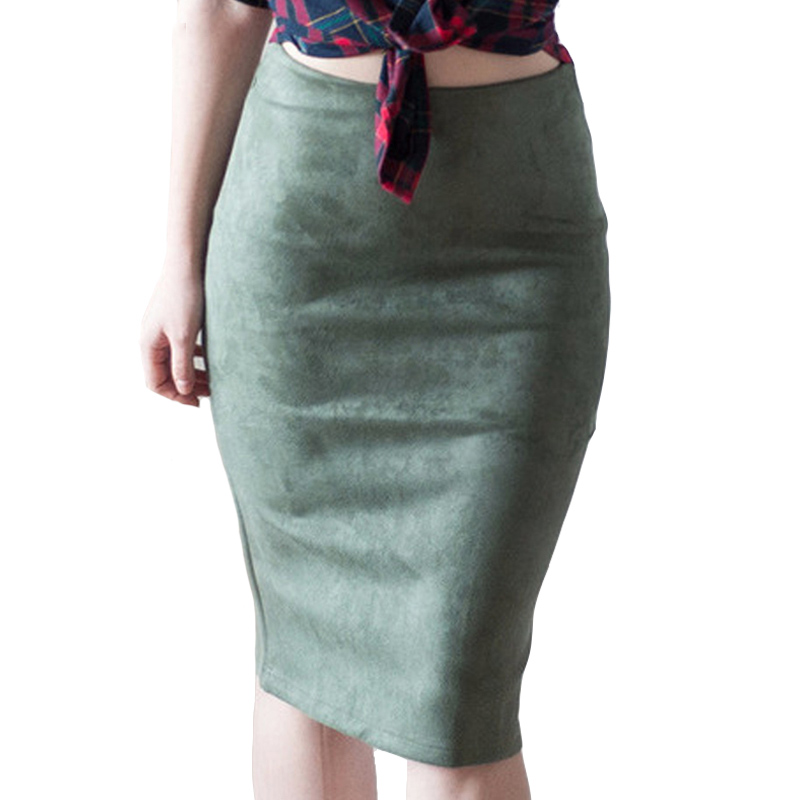 Fashion Empire Skirts 2018 Spring Faux Suede Pencil Skirt High Waist Bodycon Split Thick ...
