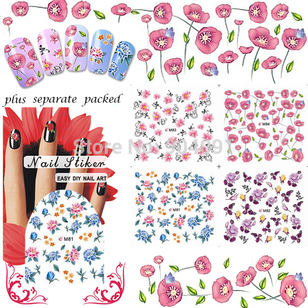BeautyNailArt 90 Hoja/LOT Full-uñas punta del Tatuaje más de 106 diseños diferentes de agua etiqueta engomada del clavo