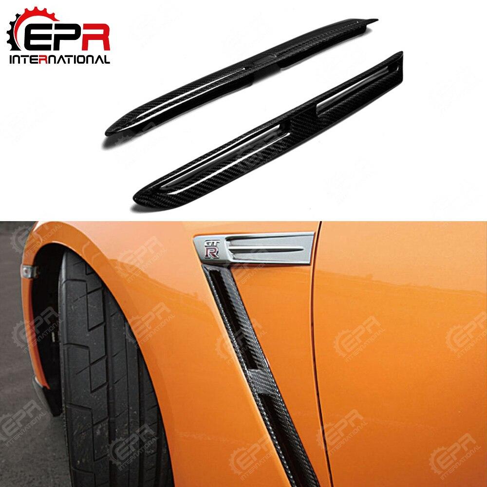 For Nissan R35 GTR OEM Front Fender Vent Carbon Fiber Body Kit Car Styling For Skyline R35 Fender GTR Vents CF Car Cover