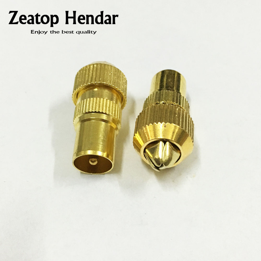 6 pcs Gold plated Male TV antenna connector metal coaxial coax adapter