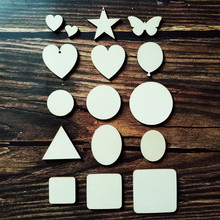 50pcs/lot Blank Unfinished Wooden Square Round Oval Star Butterfly Heart DIY Craft Embellishment Scrapbooking