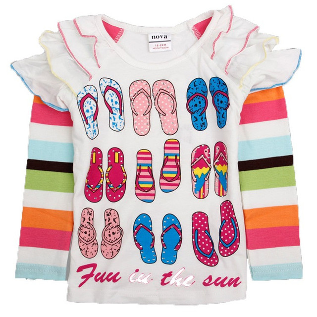 Nova Girls T-Shirts New 2014 Kids Long Sleeves Upsy Daisy In The Night Garden Appliques Cotton For Girls Tshirt children clothes