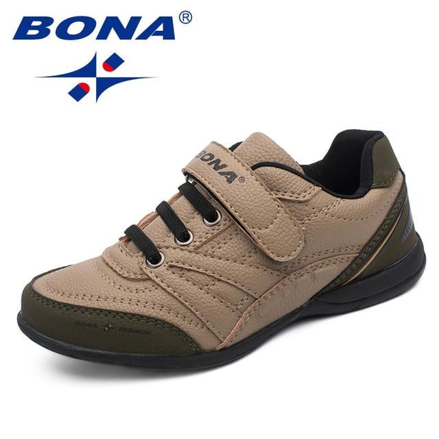 BONA Новая Классика Стиль детская повседневная обувь Hook & Loop Обувь для мальчиков уличная прогулочная кроссовки для бега Удобная бесплатная доставка