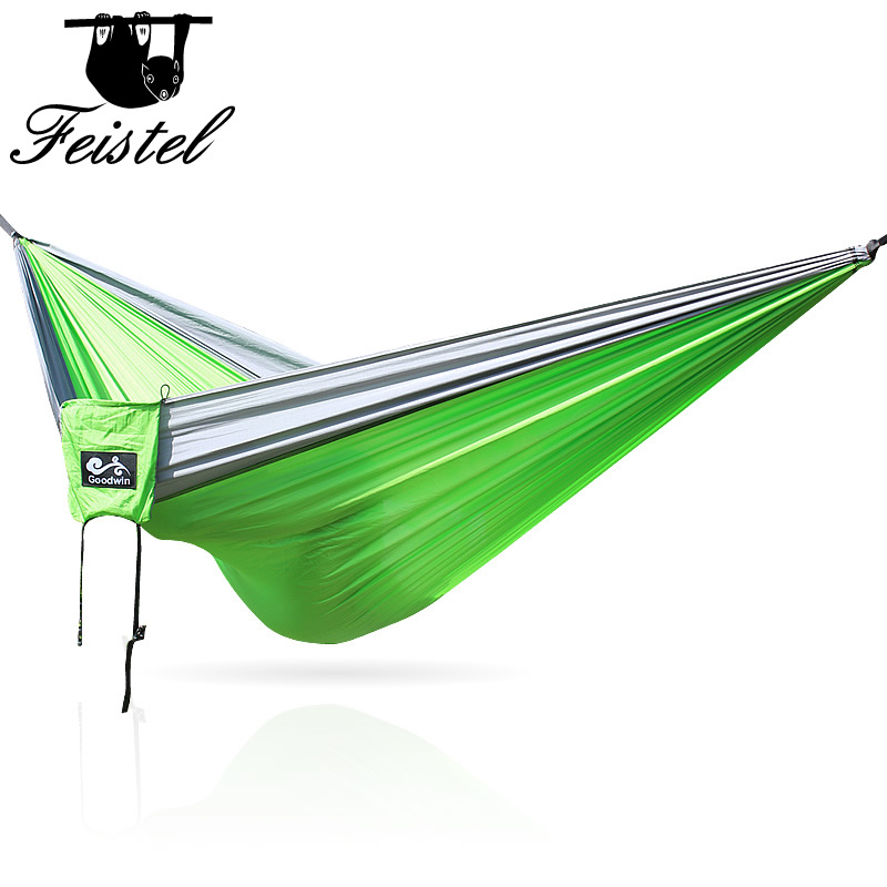 Double Portable Lightweight 2 Person Parachute Hammock With Tree Straps Up 660lb Nylon Rope Hammocks For Hiking Travel Backpack
