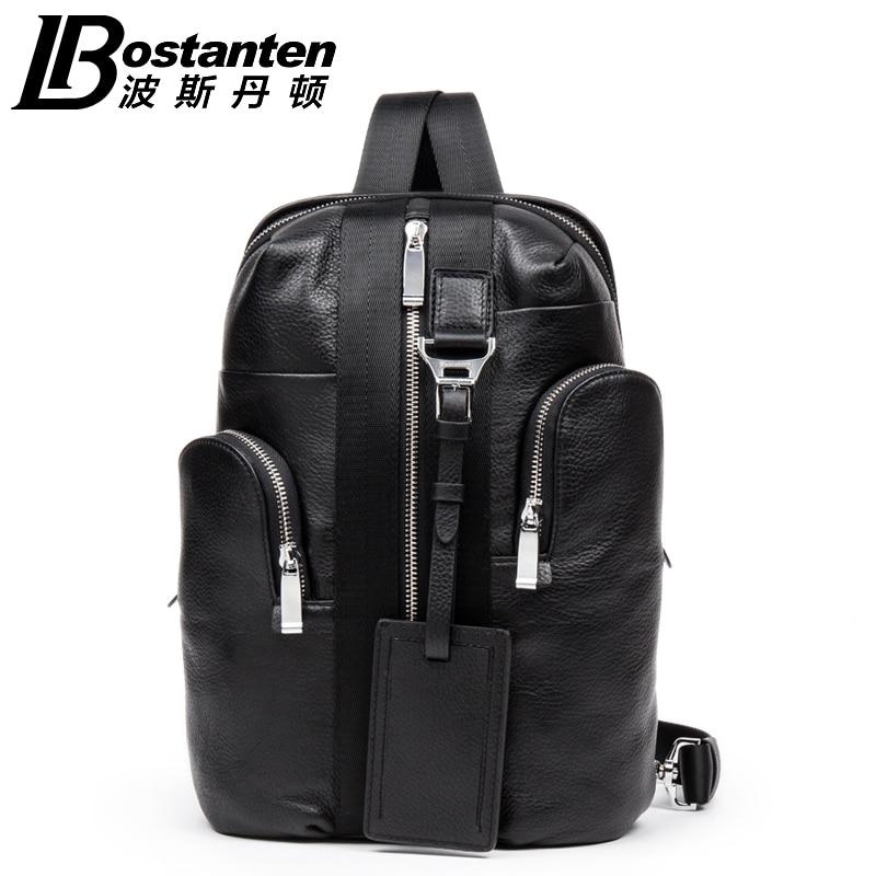 ФОТО Bostanten Men's Fashion Cowhide Genuine Leather Casual Chest Pack Sports Bag Man  Crossbody Shoulder Bag Diagonal Package Men