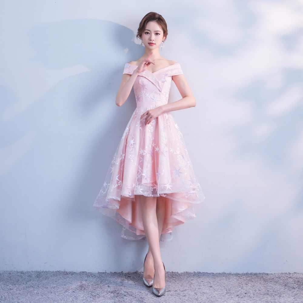 3bf61576541 ... Pink Homecoming Dresses 8 Grade Graduation Gown Pink Lace Short Front  Long Back Off Shoulder Vestidos