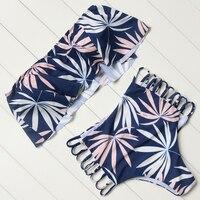 High Waist Bikini Strapless Swimsuit Women Push Up Ruffled Bikini Set Beachwear Bathing Suit Bodysuits Leaves