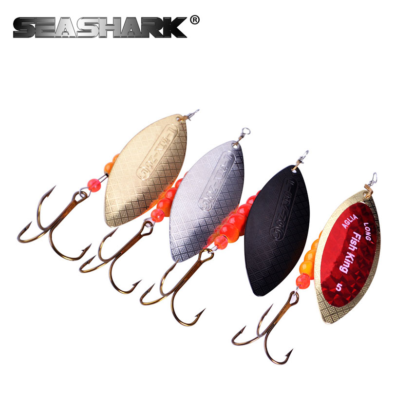 SEA SHARK shaped Spinner Bait 5PC 4 Color Size1-Size5 Fishing Lure Mepps Bass Hard Baits Spoon With Treble Hook Tackle