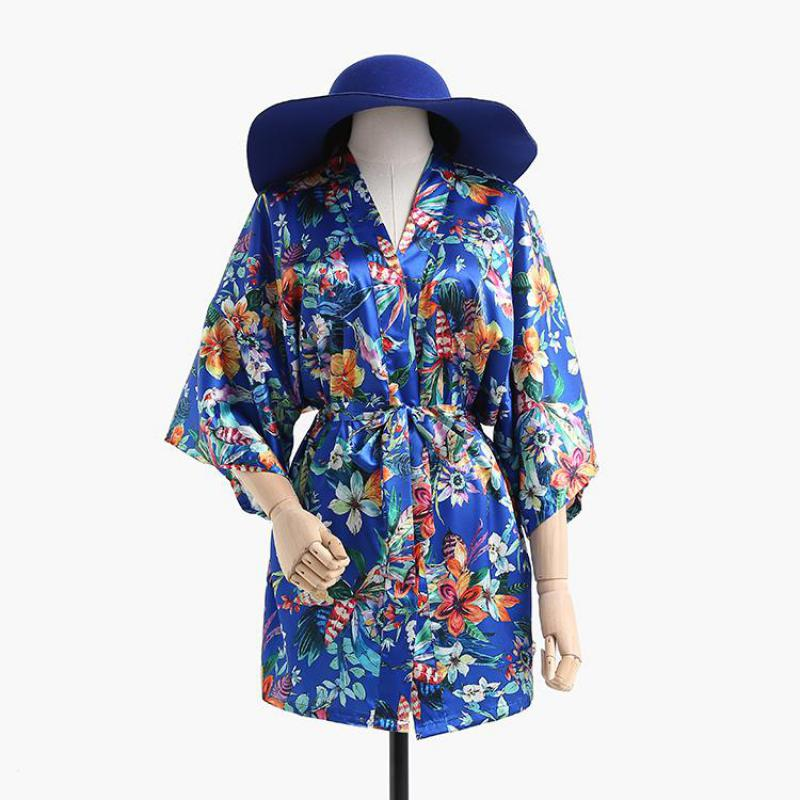 Rayon Robe Women Sleepwear Lounge Home Wear Summer Kimono Bath Gown Royal Blue Negligee Lady Sexy Night Dress Nightgown S-XXL