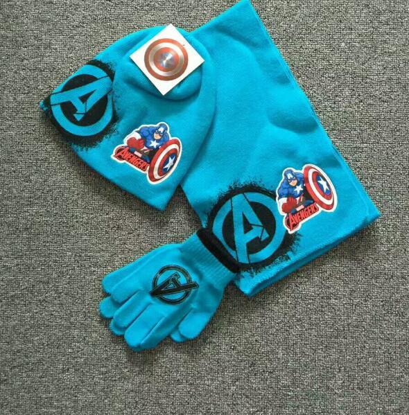 1 Satz Avengers Kapitän Amerika Stricken Beanie Hut Kinder Weihnachten Winter Gestrickte Schal Handschuhe Hut Set Party Kinder Geschenke 2-8y Ausgezeichnet Im Kisseneffekt