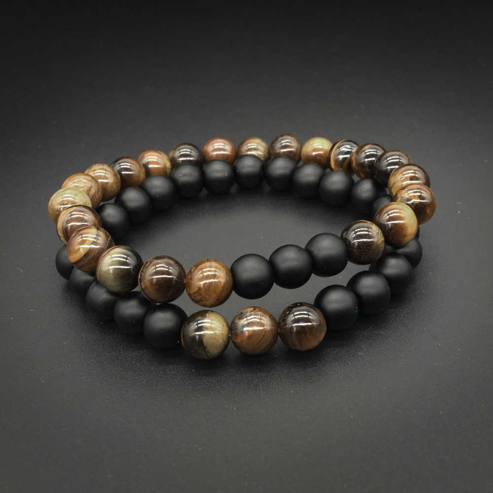 2 Pcs/set Fashion Couple Tiger Eye Stone Bracelets Bangles Classic Black  Natural Lava Stones Charm Bead Bracelet Women Men