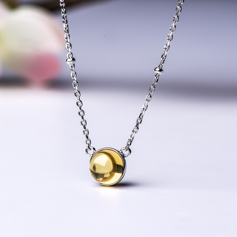 Real Pure 925 Sterling Silver Citrine Pendant Choker Necklace For Women Natural Stone Simple Round Elegant Fine Jewelry