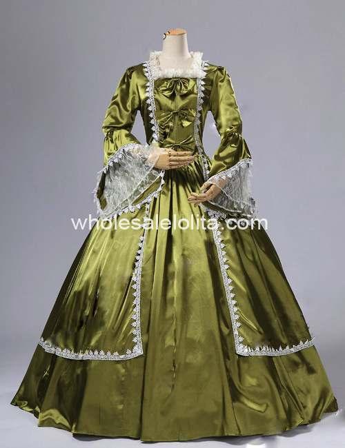 18 век оливковое атласное платье со времен Марии Антуанетты бальное платье/Одежда для выступлений - Цвет: Армейский зеленый