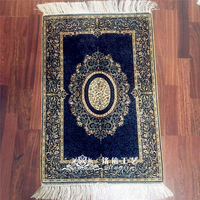 Mingxin 1.5x2ft Flower Turkish Silk Carpet Floral Handmade Exquisite Iran Small rug For Home Tapis Floor Mat