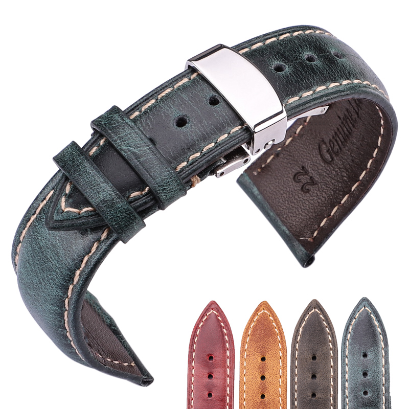 Genuine Leather Watchband Women Men Oil Wax Cowhide Watc Band Strap 18mm 20mm 22mm 24mm Blet With Steel Butterfly Buckle