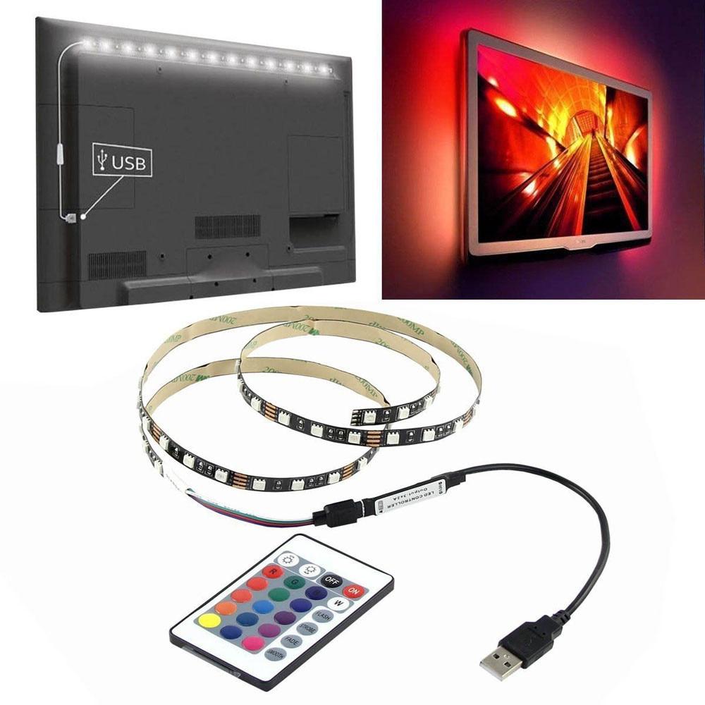 USB RGB Strip Lights LED Non-Waterproof Tape Remote TV Background Backlight Kits